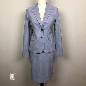 Banana Republic Gray Pinstriped Blazer and Skirt 0